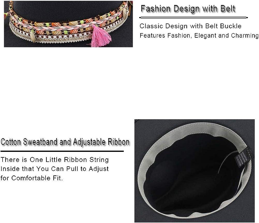 Cappello da donna Fedora in feltro a tesa larga con nappa