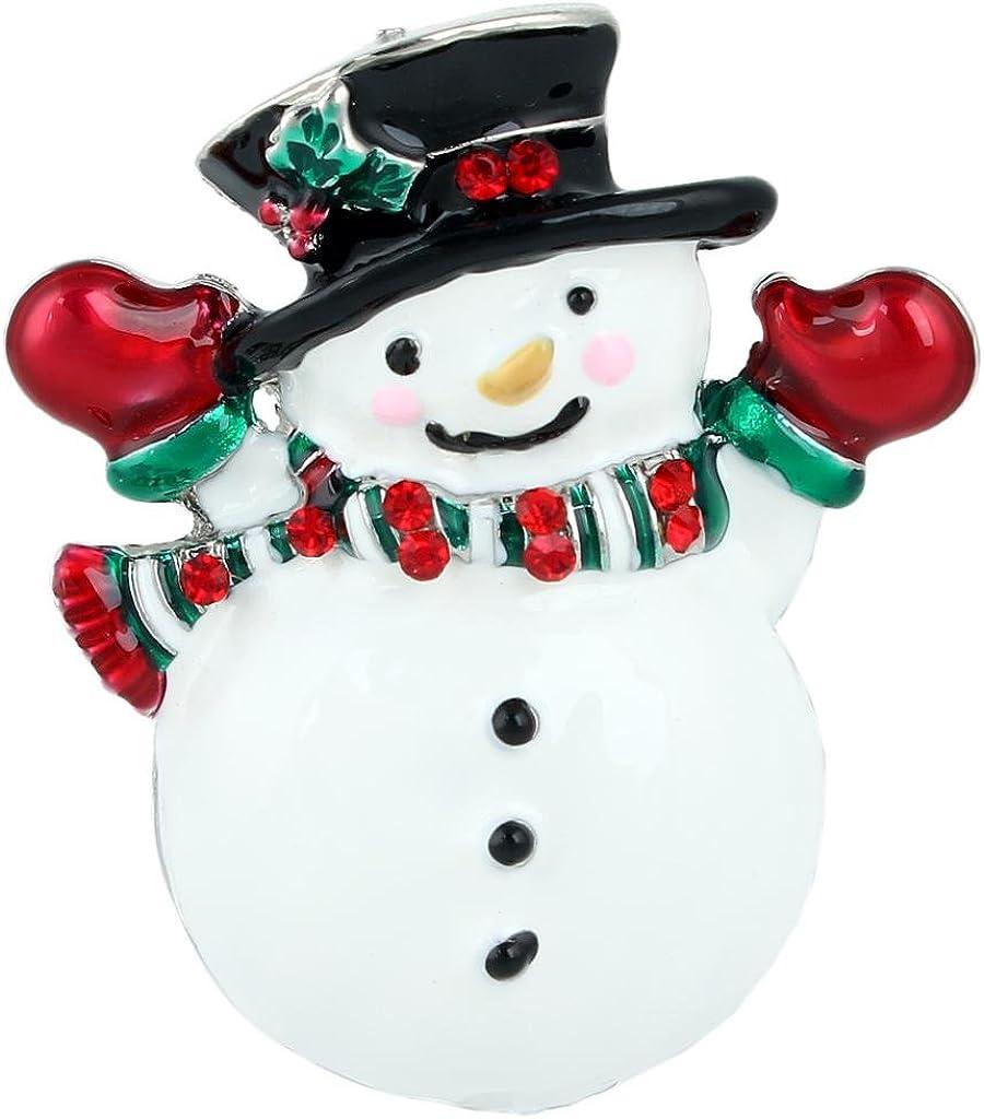 EVER FAITH Austrian Crystal White Enamel Cute supreme Snowman Sale special price Mistletoe