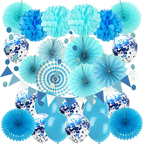 ZERODECO Party Hanging Paper Fans Set, Blue Confetti Balloons Decorative Folding Fans Paper Pompoms and Triangle Bunting Flags Garlands for Graduation Wedding Birthday Baby Shower Party Decorations