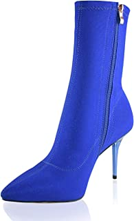 Stretch Pointed Toe Sock Booties Mid-Calf Ankle Boot Stiletto Heel Boots for Women