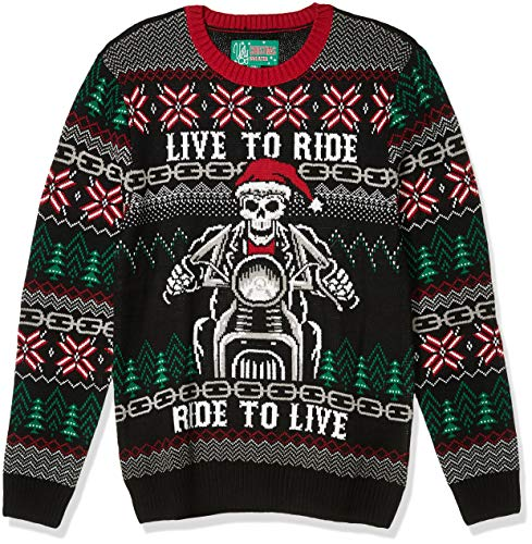 Ugly Christmas Sweater Company Men's Assorted Crew Neck Sweaters with Fun Xmas Icons, Sculls, and Sayings, Black Skeleton Biker, X-Large