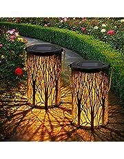 OxyLED 2 sztuki latarni solarnych na zewnątrz, IP44, wodoszczelna, dekoracyjna, solarna lampa ogrodowa, dekoracja zewnętrzna, do ogrodu, na patio, taras i podwórko, Boże Narodzenie (ciepła biel)
