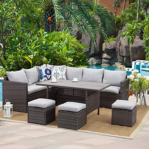 Wisteria Lane Patio Furniture Set,7 Piece Outdoor Dining Sectional Sofa Couch with Dining Table and Chair, All Weather Deck Wicker Conversation Set with Cushion, Grey