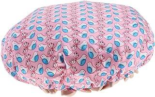 Perfeclan レディース シャワーキャップ 入浴キャップ ヘアキャップ バス用品 二重層 防水 再利用可能 全3色 - ピンク