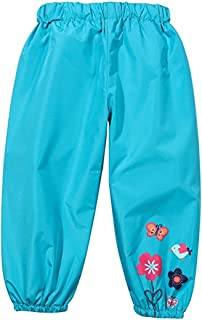 FAIRYRAIN Pantalones de lluvia para niñas pequeñas, impermeables, ligeros, con flores