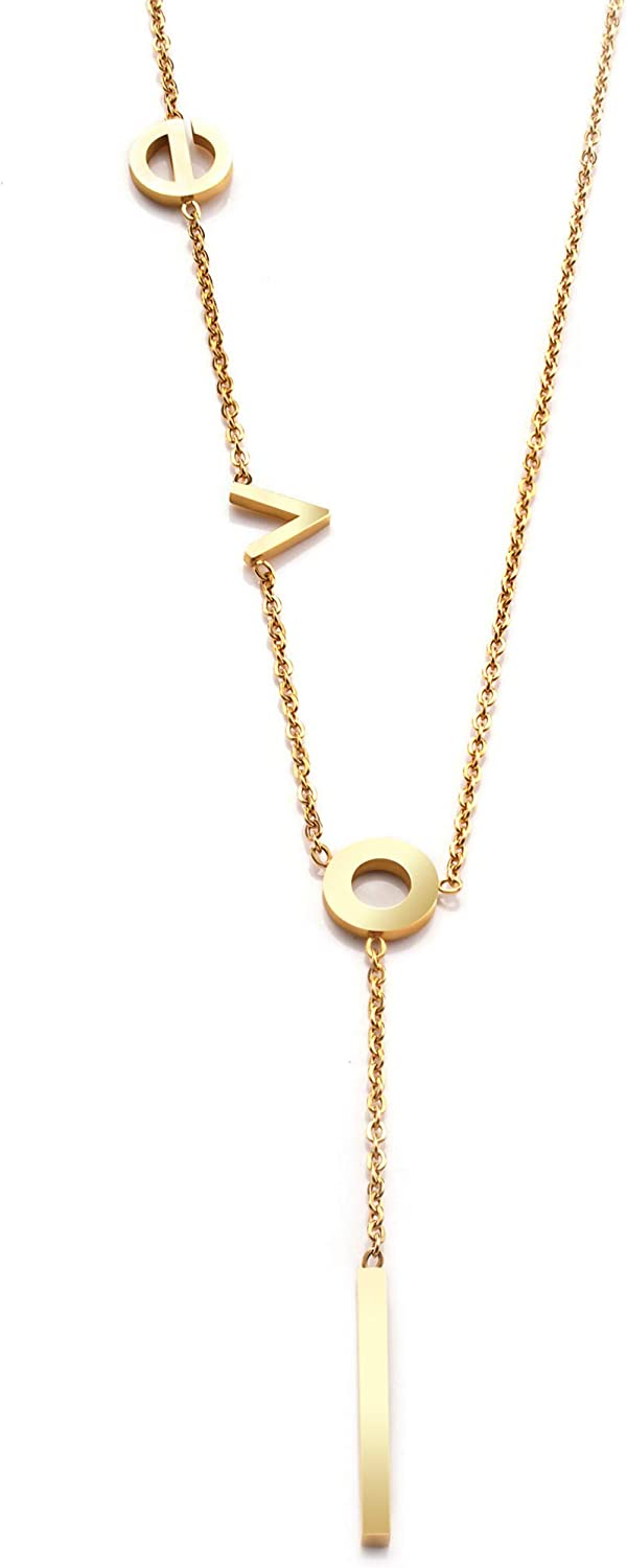 """LeDeSheng 18k Real Gold Plated""""LOVE""""Dainty Chain Necklace, Y Necklace Chain with Bar Pendant for Women Teen Girls Girlfriend Her (with Gift Box) 5151-LOVE"""