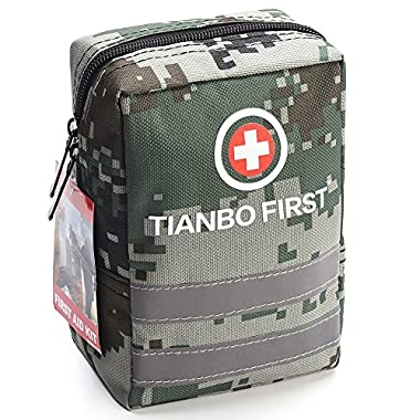 TIANBO FIRST 120 Pieces First Aid Kit, Tactical Trauma Kit with Reflective Stripe, Ideal for Camping, Survival, Hiking, Rescue Camouflage