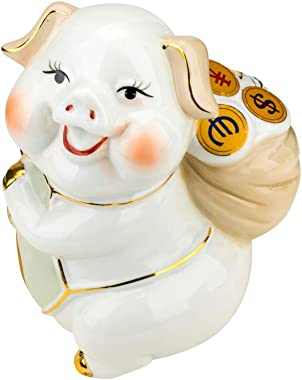 Quality Import P104, 6''H Porcelain Pig with a Bag of Money, 2019 Chinese Zodiac Year of Swine, Feng Shui Enamel Stat