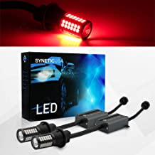 Error Free Canbus Ready Red LED Brake Parking Tail Stop Turn Signal Light Bulbs DRL Parking Lamp No Hyper Flash All in One With Built-In Resistors (7443)