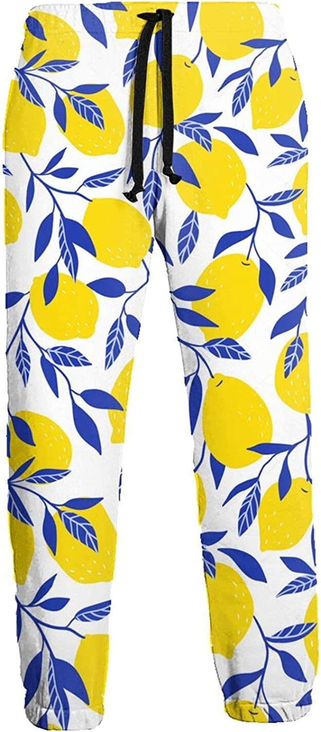 Active Sweats Jogger Pants Lemons with Blue Leaves Running Joggers Casual Sweatpants for Men Women