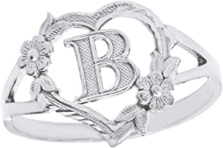 CaliRoseJewelry Silver Initial Alphabet Personalized Heart Ring - Letter B