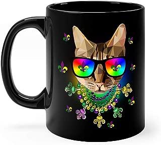 Mardi Gras New Orleans Funny Cat Mask Sunglasses Coffee Mug Cup Ceramic 11oz Black