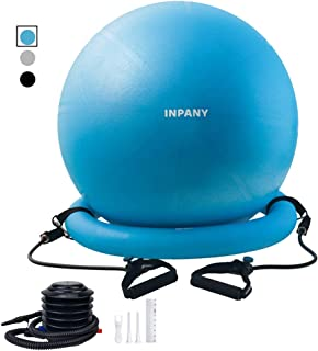 Exercise Ball Chair-65cm Yoga Ball with Stability Base, Extra Thick Balance Ball with Adjustable Resistance Bands, Leak-Proof Birthing Ball with Workout Posters&Quick Pump- Home&Gym&Office&Pregnancy