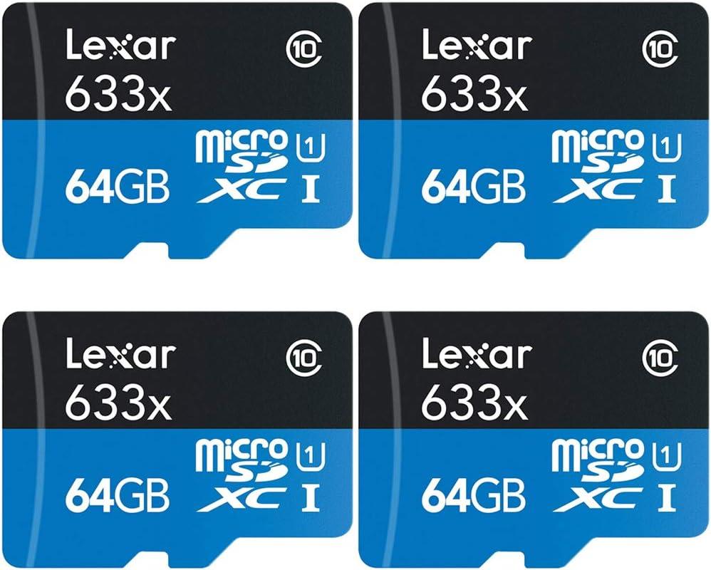 Lexar LSDMI64GBBNL633A High-Performance 633x microSDHC/microSDXC UHS-I 64gb Memory Card 4 Pack