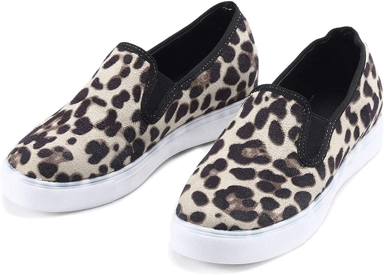 Women Fashion Retro Leopard Flock Loafers Round Toe Casual shoes