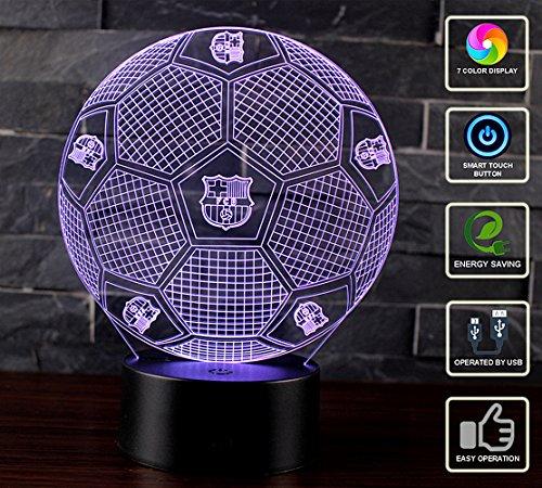 3D Lámpara de Escritorio Mesa NHSUNRAY 7 cambiar el color botón táctil de escritorio del USB LED lámpara de tabla ligera Decoración para el Hogar Decoración para Niños Mejor Regalo (FC Barcelona)