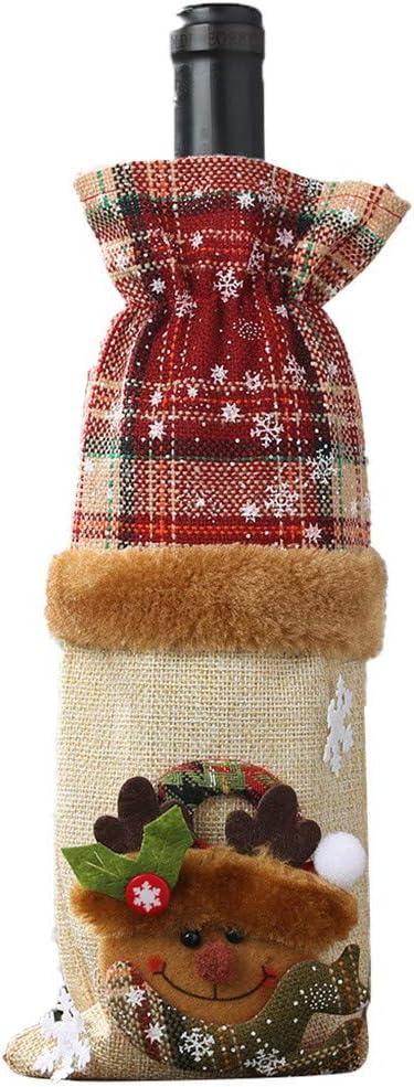 Bascar Juego de botella de vino a cuadros de lino decorado, bolsa de champán, traje decorativo de Navidad, cubierta de botella, decoración de mesa, regalos románticos (B)