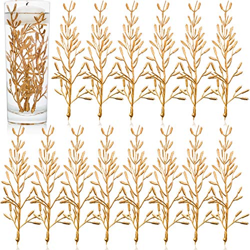50 Pieces Artificial Flowers for Floating Candles Centerpiece 6 Inch Flower Filler Halloween Vase Fillers Filling in Floating Candles for Wedding Dinning Table Party Home (Gold) (Wedding Floating)