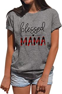 Women Blessed Mama Letter Print Round Neck Short Sleeve T-Shirt Tops