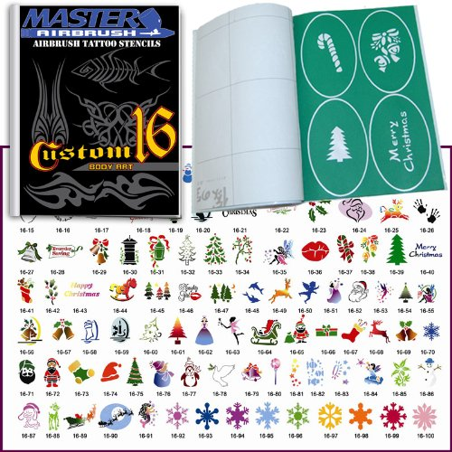 Master Airbrush® Brand Airbrush Tattoo Stencils Set Book #16 Reuseable Tattoo Template Set, Book Contains 102 Unique Stencil Designs, All Patterns Come on High Quality Vinyl Sheets with a Self Adhesive Backing.