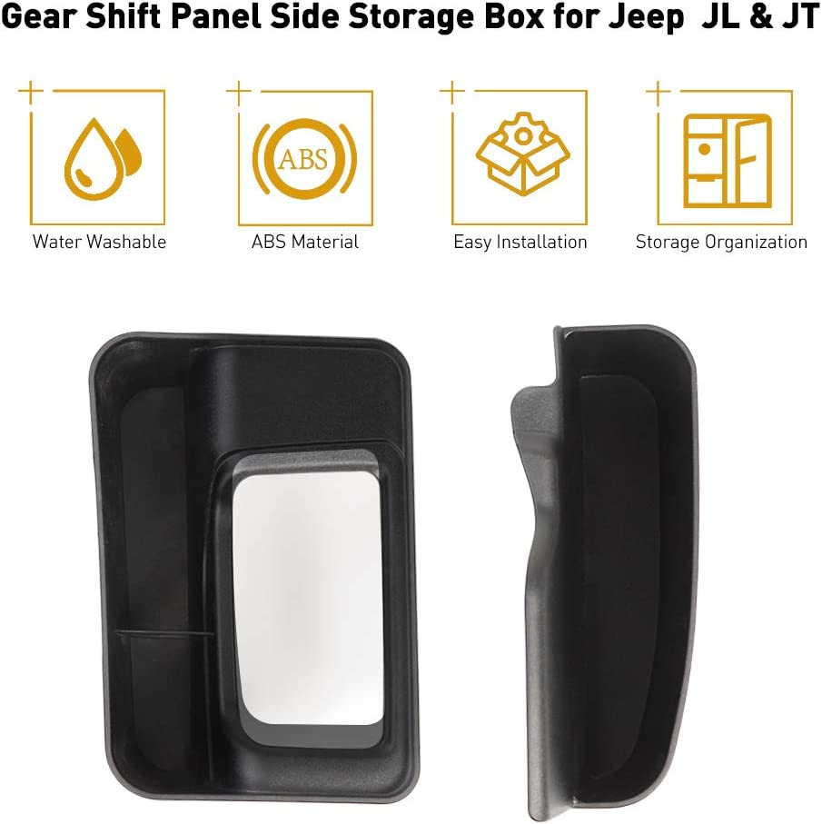 Black Savadicar JL GearTray Gear Shift Console Side Storage Box Auto Transmission Side Organizer Tray for 2018-2020 Jeep Wrangler JL JLU /& 2020 Jeep Gladiator JT Interior Accessories