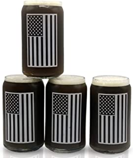 Beer Glass Can Shaped Drinking Glasses Set Of 4 Libby 209 16oz USA American Flag Cool Birthday Present or Gift for Dad, Veterans Day, Kitchen, Home Bar, 4th of July!