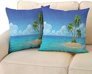 Island,Pillowcase Pattern Illustration of Desert Island with Exotic Tree and Skyline Paradise Rest 20