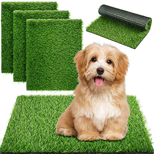 Weewooday 4 Pieces Dog Grass Pee Pads Artificial Dog Grass Mat Dog Artificial Turf Mat Pet Grass Rug Replacement Puppy Potty Trainer Fake Mat with Drainage Holes for Dogs Indoors Outdoors