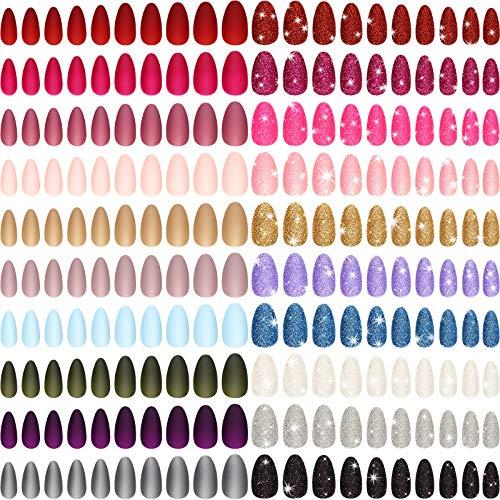 480 Stücke 20 Sets Gefälschte Nägel Matt und Funkeln Einfarbig Mittlere Lange Falsche Nägel Mandel Aufdrücken Nägel Vollabdeckung Nagelspitzen Künstliche Fingernägel für Frauen und Mädchen