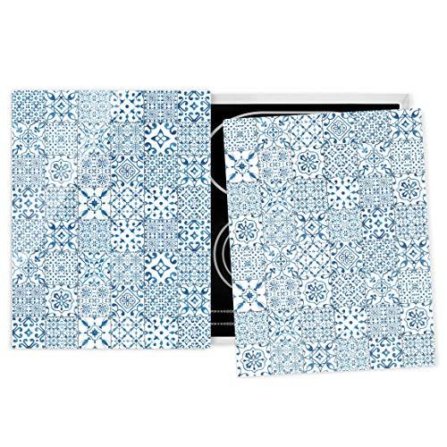 Herdabdeckplatte Glas universal ESG Sicherheitsglas Fliesen Blau Weiß 52 x 80 cm