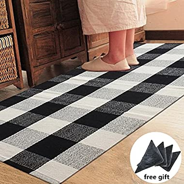 Ukeler 100% Cotton Plaid Rugs Black/White Hand-woven Checkered Carpet Washable Rag Throw Rugs, 23.6''x35.4''