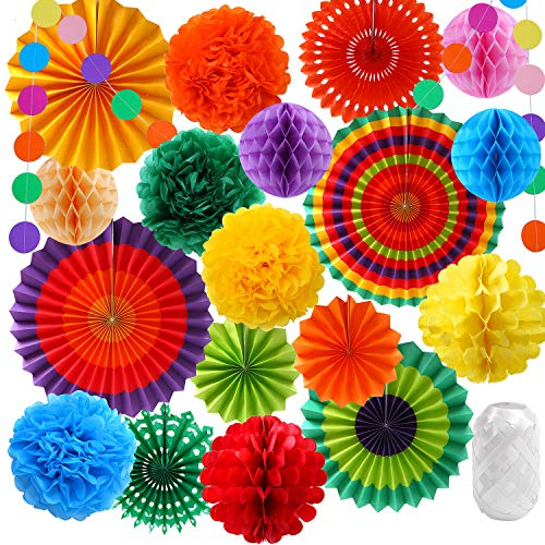 Elcoho 20 Pieces Rainbow Hanging Paper Fans Tissue Colorful Paper Pom Poms Flower Honeycomb Balls Garlands String Polka Dot for Birthday Parties, Wedding Décor, Fiesta or Mexican Party