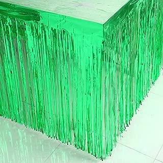 2 Packs Metallic Foil Fringe Table Skirt 29x108-Inch Green Tinsel Table Skirts For Rectangle Tables