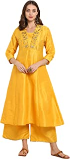 Bhama Couture Women's Straight Salwar Suit Set(Pack of 2)(BHKS045_Yellow)