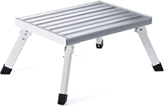 ACSTEP Step Stool ladders, Aluminum Folding Platform Steps RV Steps with Anti-Slip Sturdy and Wide Pedal Steel 1 Step Ladder Office Step Stool More Sturdy Up to 1000lbs Capacity