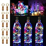 LiyuanQ 10 Pack 20 LED Wine Bottle Cork Lights Copper Wire String Lights, 2M/7.2FT Battery Operated Wine Bottle Fairy Lights Bottle DIY, Christmas, Wedding Party Décor Multicolor (Bottle not Included)