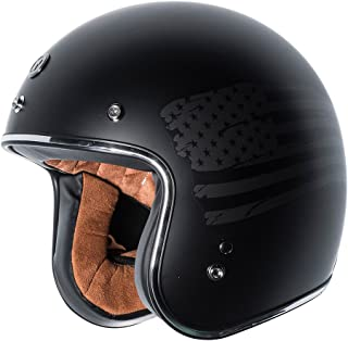 TORC T50 Route 66 3/4 Helmet with 'Black Flag' Graphic (Flat Black, Large)
