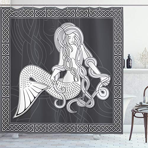Ambesonne Mermaid Shower Curtain, Retro Art Illustration of a Mermaid Brushing Hair and Border with Celtic Patterns, Cloth Fabric Bathroom Decor Set with Hooks, 75' Long, Grey