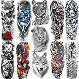 11 Sheets NEZAR Realistic Siberian Lion King Face Long Full Arm Temporary Tattoos For Women Men Kids Adults Large Tiger Wolf Animal Fake Temporary Tattoo Sleeves Waterproof Leg Temp Tatoos Nun Girl