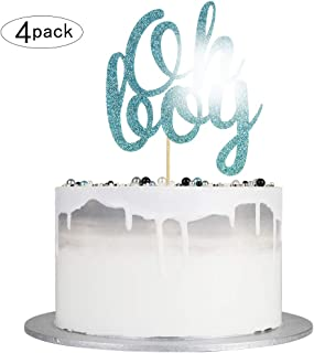 Autude Oh Boy Cake Topper - Blue Glitter Baby Shower Cake Topper for Boy(4 pack)