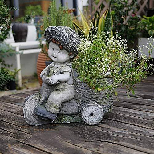 NYDZ Garten Ornamenten kind-rijfiets sculptuur fleshy bloempot waterdicht magnesium oxide Yard landschap gazon decoratie geschenk - 34 * 19 * 39cm