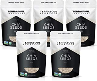Terrasoul Superfoods Organic White Chia Seeds, 5 Lbs (5 Pack) - Omega Fats | Fiber | Plant Protein