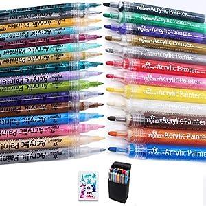 XIAPIA Rotuladores Pintura Acrílica 28 Colores 0,7 mm 2-3 mm Marcadores de Pintura Multisuperficie Permanentes Pintura de Arte para Pinturar en Rocas,Madera,Tazas de Cerámica,Vidrio,Plástico