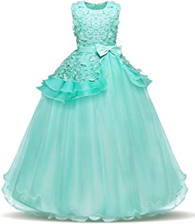 Bestfive Girls Floor Length Princess Dresses Kids Sleeveless Wedding Party Prom Ball Gowns Dress 5-14 Years