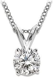 Near 1 Carat 4 Prong Solitaire Basket Diamond Pendant Necklace 14K White Gold (J, I1, 0.85 ctw)