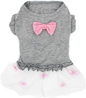 kyeese Dog Dresses Girl Bowtie Grey Dog Ruffle Dress Party Birthday Pet Apparel for Small/Medium Dogs Sundress