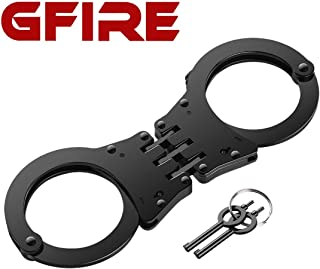 GFIRE Handcuffs Real Handcuffs Higned Handcuffs Double Lock Professional Grade Metal Steel Handcuffs with Keys Perfect for Training and Daily Use