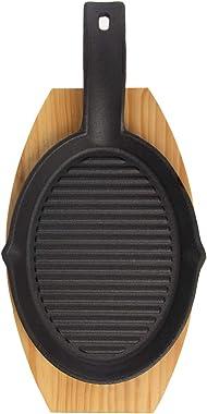 Mr. Bar-B-Q (2 Piece) Fajita Skillet Set With Wood Base Kitchen Accessories Cast Iron Skillet Cooking Set