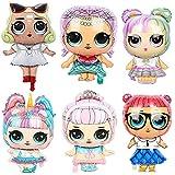 Babioms 6Pcs Globo Muñeca Sorpresa, for Children Birthday Doll Globos Decoraciones para Suministros de Fiesta Infantil, Helium Balloons