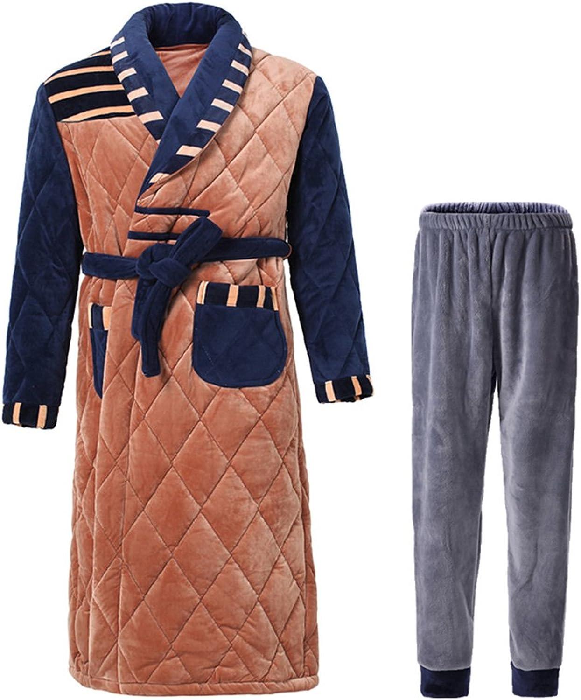 GJM Shop Bathrobes Polyester Three Layers of Cotton Thicken Pajamas Male Youth Lapel Nightgown Winter Keep Warm Home Clothes Bathrobes + Single Pants Two Pieces L XL   XXL XXXL